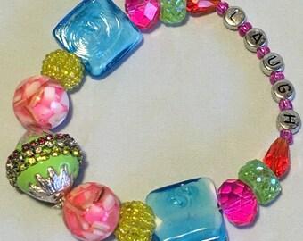 LAUGH - funky chunky inspirational bracelet