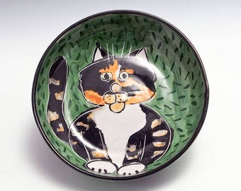 Calico Cat Ceramic Feeding Bowl - Clay Pottery Dish - Pet Cat Bowl - Majolica Handmade Shallow Dish - Cat Feeding Bowl - Orange Black White
