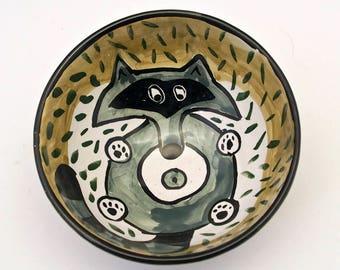 Ceramic Cereal Bowl - Grey Gray Raccoon - Pottery Bowl - Small Ice Cream Bowl - Small Dish - Boyfriend Gift - Majolica Bowl - Animal Bowl