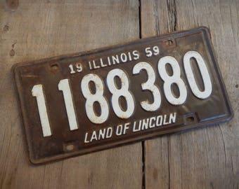 Vintage License Plate Illinois 1959 Rustic Garage, Industrial, Man Cave, Pub, Bar Decor, Wall Hanging, Home Decor