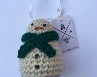Snowman ornament - christmas decoration - snowman decoration - christmas snowman - crochet ornament - crochet snowman