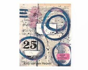 "25 - an original mixed media collage - 8""x 10"""