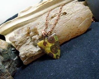 Small Green Oolite Orbicular Copper Gemstone Pendant Necklace Petite Minimalist
