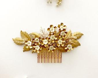 Parijat Bridal Hair Comb   ivory flowers hair comb   Garden Hair Comb   Gold Hair comb