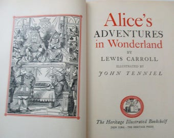 40s Vintage Book-Alice In Wonderland AND Through the Looking Glass