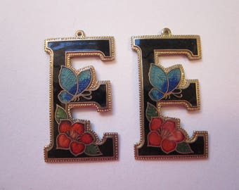 2 vintage initial charms - letter E - enameled letter E with flower and butterfly
