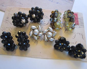 5 pairs of vintage earrings - clip on, clip style - glass, faux pearl, faceted glass - instant collection