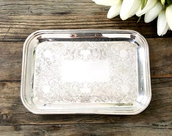 Vintage Silver Tray, Square Vanity tray, Jewelry dish, Shabby Chic French Decor silver plate