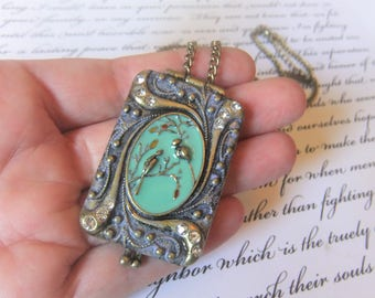 Bird Locket Necklace. Verdigris Patina Violet Rectangle Locket Necklace. Love Bird Locket Necklace. Bird Jewelry, Birthday Gift