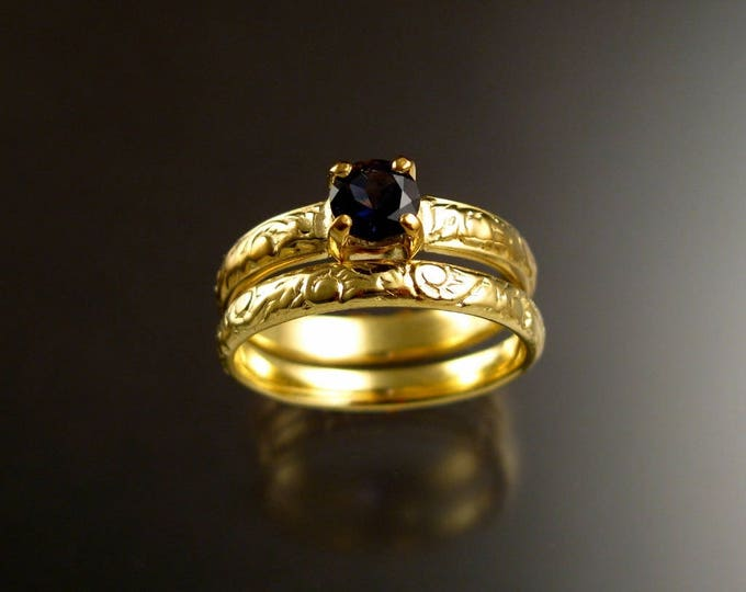 Iolite 14k Green Gold Victorian floral pattern Sapphire substitute wedding / engagement two ring set