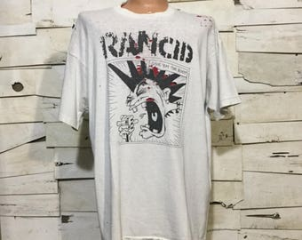 Vintage 90's RANCID Give 'em the boot Distressed T-Shirts (ps-ts-9)