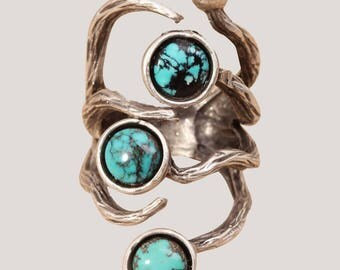 Turquoise Ring Silver Turquoise Ring Branch Ring Silver Branch Ring