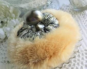 Brown Sugar Powder Puff | black, silver and gold satin brocade pouf with handle | gift box option | handmade by Bonny Bubbles