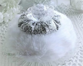 GREY and WHITE Powder Puff - bath pouf with handle - gift box option - handmade by Bonny Bubbles