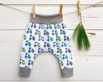 Scooter Baby Harem Pants, Vespa Scooter Baby Leggings, Baby Pants, Gender Neutral Baby Clothes
