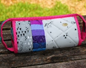 Black & White Patchwork Rainbow Sew Together Bag   project bag   makeup bag   toiletry bag   travel bag   large zipper pouch