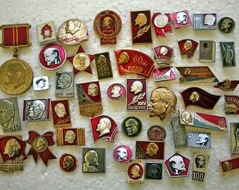 Soviet Propaganda Badges / Pins - Set of 55 - Lenin - Communism - 1970s - from Russia / USSR / Soviet Union