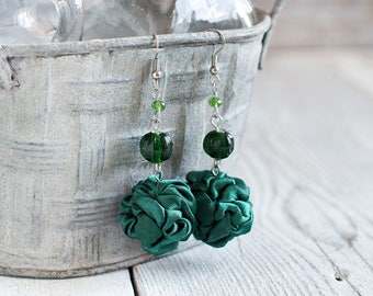 Dark green fabric bead Earrings, ruffled textile earrings, fabric jewelry, textile jewelry, dangle earrings, Unique Gift for Her