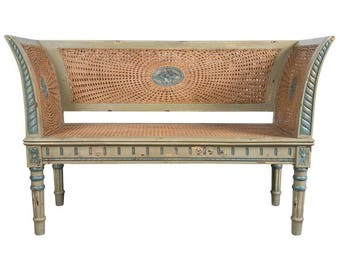 Painted Bench with Decorative Caning