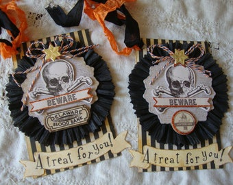 Skull tags Halloween gift tags party favor Halloween paper art vintage inspired cottage chic halloween home decor tag gift for friend