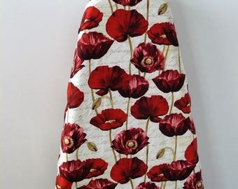 Ironing Board Cover - simply red poppies with script background