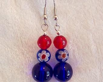 4th of July Earrings, Red White Blue Earrings, Independence Day Earrings, Millefiori Earrings, Patriotic Earrings, Make America Great Again
