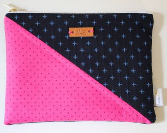Monogrammed Clutch Purse, Navy Pouch, Pink Zipper Pouch, Small Makeup Pouch, Personalized Bag, Clutch Bag, Small Purse Pouch, Small Clutch