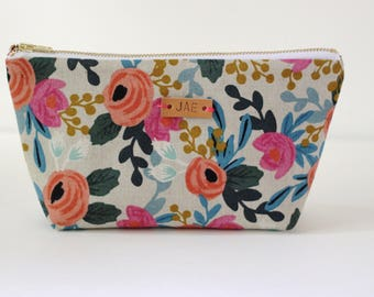 Monogrammed Makeup Pouch, Small Cosmetic Bag, Rifle Paper Co Makeup Bag, Small Floral Zipper Pouch, Personalized Clutch, Monogram Zipper Bag