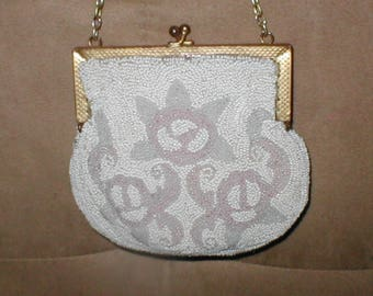RARE Antique white & pastel Beaded Evening Purse from France