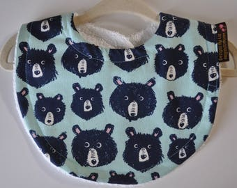Baby Gender Neutral Mint Green and Black Bears with Terry Cloth Snap Bib