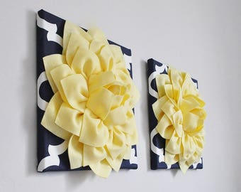 Light Yellow and Navy Moroccan wall hanging Set - Set of 2 - Moroccan wall art - Moroccan wall hanging - Handmade Tile - Yellow, Navy, White