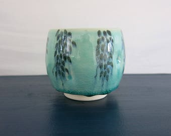 Dimpled Aqua Bue Green Ceramic Yunomi Tea Bowl Tea Cup Woodland Botanical Hand Drawn Painted, Handmade Artisan Pottery by Licia Lucas Pfadt