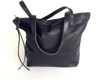 summer sale Beautiful Black Leather Tote Bag , Laptop bag , black leather bag , zipper tote