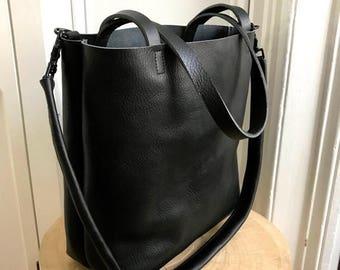 summer sale Black Leather Tote Bag - black leather bag - large black tote - sturdy Leather Travel Bag - Leather Market bag