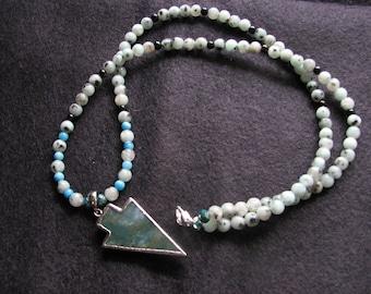 Arrowhead necklace pendant | beaded | electroformed pendant | natural stone | agate | jasper stone