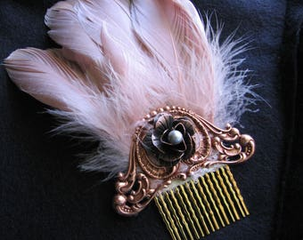 Pearl hair comb | wedding hair piece | rose | champagne | pink | copper | filigree | art nouveau