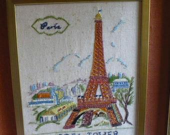 Paris Eiffel Tower Framed Art Wall Decor, Needlepoint Paris Wall Hanging, Paris Tower Decor, Vintage Paris Wall Decor, PioneerFundraiser