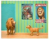 Lion art print, vintage circus posters, bright kids room decor: Lionized