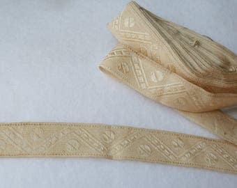 Vintage Ribbon Trim Cream, Beige, Ecru - Chevron and Dots