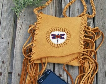 ON SALE Fringed phone bag with dragonfly totem , Crossbody bag , Leather handbag, Small leather phone bag