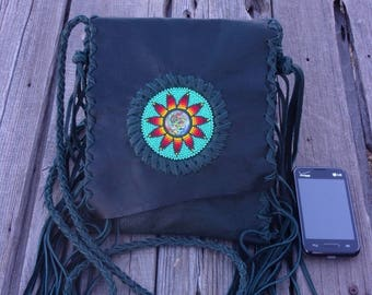 Fringed leather handbag , Deadhead art bag , ready to ship, forest green leather festival bag, Grateful Dead rosette with dancing bears