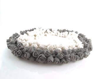 SALE Porcelain Flower Statement Necklace with White or Gray Roses Flowers, Sterling Silver Necklace, Porcelain Jewelry ,Bridal Necklace Wedd
