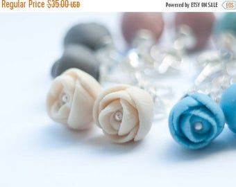 SALE EL PASO Peony Porcelain and Sterling Silver Stud Earrings , White, Ecru,Sky Blue, Turquoise, Gray, Purple, Coral