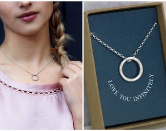 Christmas gift for her, love necklace, gift for loved one, infinity necklace silver, gift for daughter, gift for wife - Lilia
