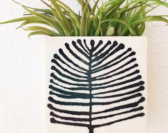 small porcelain planter / wall vase screenprinted tree pattern black.