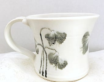 Black flowers on a white tea cup, ceramic white coffee cup, porcelain hot chocolate mug, clay coffee cup, white dainty tea cup, ceramic tea