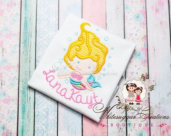 Personalized Baby Mermaid Shirt  - Custom Baby Mermaid Bodysuit - Under the Sea Party - Toddler Summer Outfit - Baby Shirts