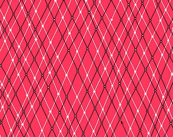 Mingle & Jingle from Ink and Arrow Fabrics - Full or Half Yard Linear Argyle in Red - Christmas Coordinate