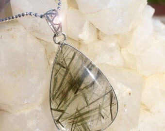 Natures Sketches - Epidote Crystals in Quartz Sterling Silver Necklace