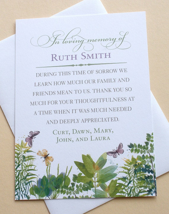 thank you sympathy cards with green leaves and three beautiful